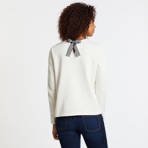 Long Sleeve Tie-Back Lurex Fleece Top - Tavern