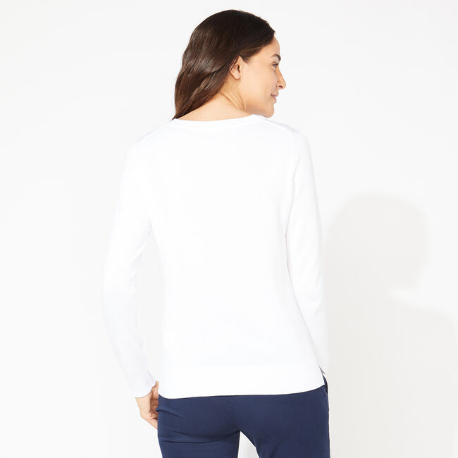 COTTON CREWNECK SWEATER,Bright White,large