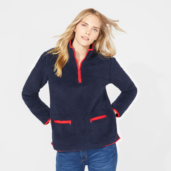 SHERPA QUARTER-ZIP FLEECE PULLOVER - Stellar Blue Heather
