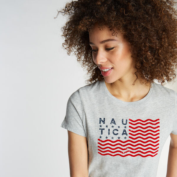 CLASSIC FIT T-SHIRT IN FLAG GRAPHIC - Grey Heather