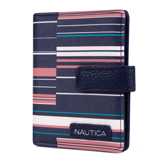Plain Sailing Ribbon Striped Passport Case,Nautica Red/Orange,large