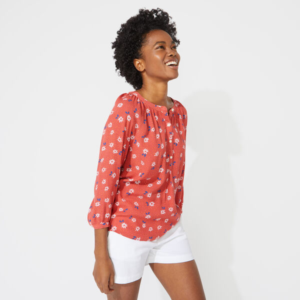 NAUTICA JEANS CO. PATTERNED POPOVER SHIRT - Crimson