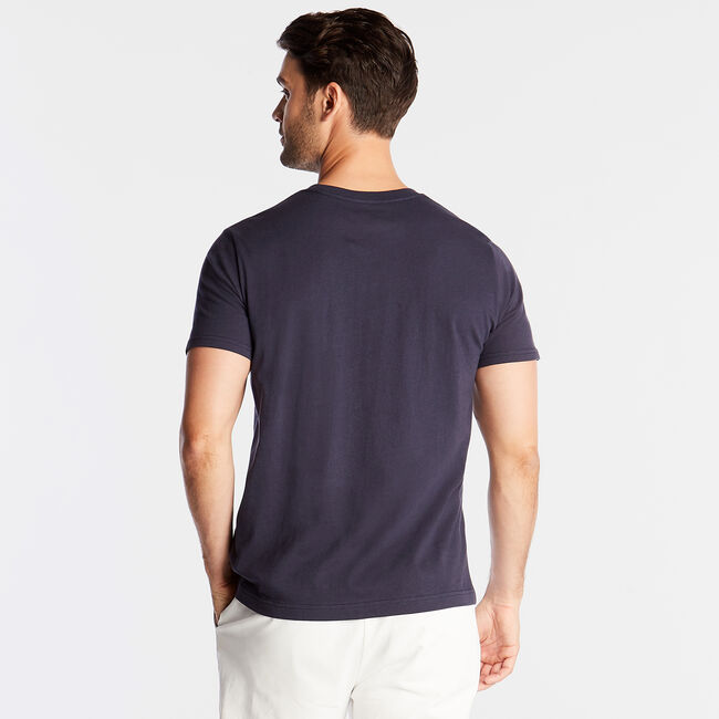 CLASSIC FIT JERSEY T-SHIRT IN MARITIME FLAG GRAPHIC,Navy,large