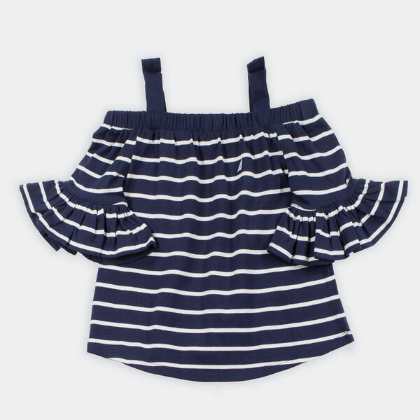 TODDLER GIRLS' STRIPED OFF-THE-SHOULDER TOP (2T-4T) - Navy