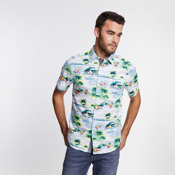 Big & Tall Short Sleeve Poplin Shirt in Print - Silver Lake Blue