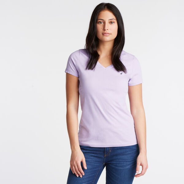 Solid V-Neck Short Sleeve T-Shirt - Lavender