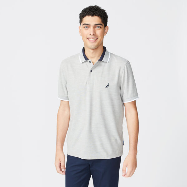 SUSTAINABLY CRAFTED COLORBLOCK COLLAR POLO - Grey Heather