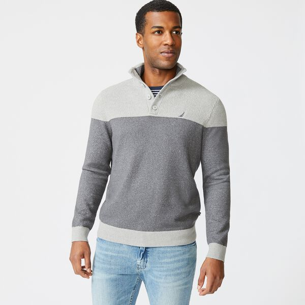 SUSTAINABLY CRAFTED COLORBLOCK SWEATER - Grey Carbon