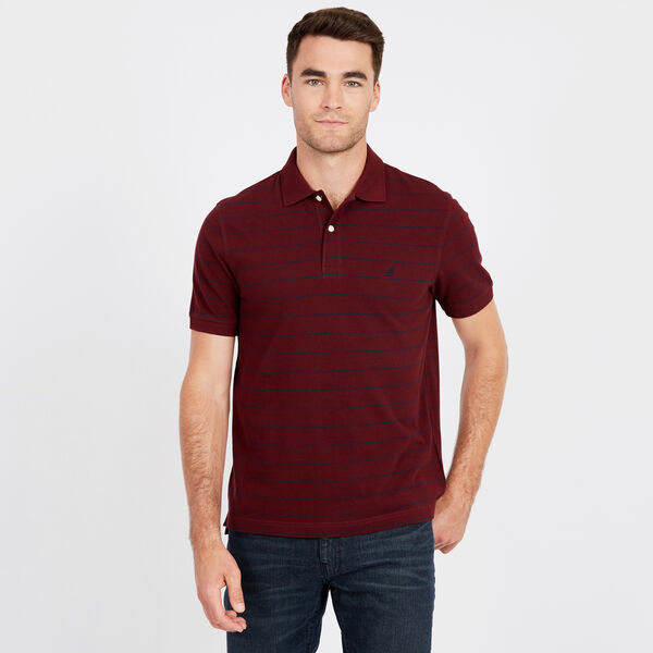 Classic Fit Piqué Polo in Breton Stripe - Royal Burgundy