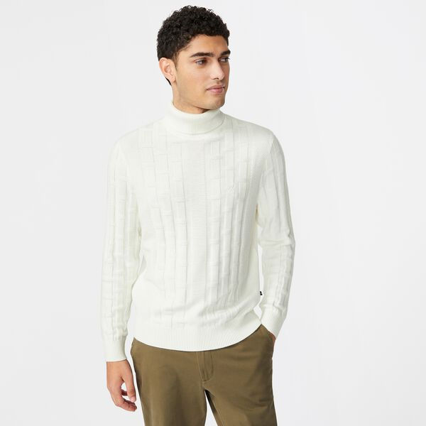 TEXTURED COTTON-BLEND TURTLENECK - Marshmallow