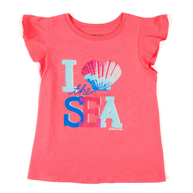 Toddler Girls' I Love the Sea Ruffle Sleeve T-Shirt (2T-4T),Salmon,large