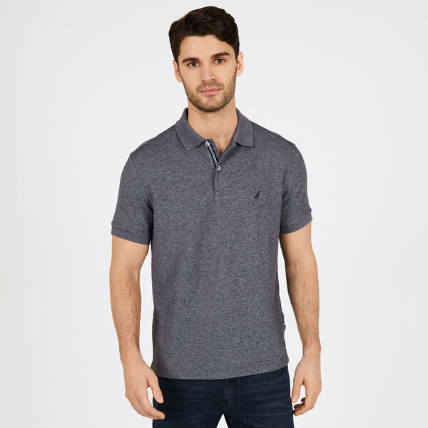 BIG & TALL STRETCH MESH POLO - Charcoal Hthr