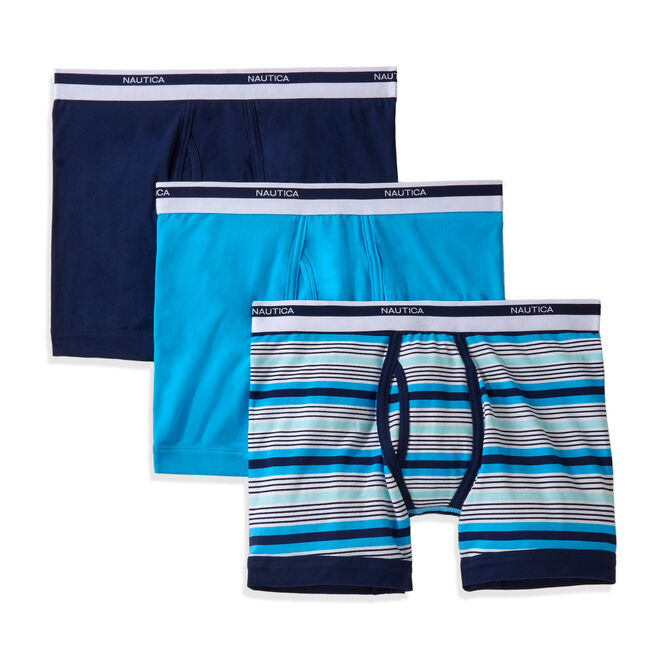 Cotton Stretch Boxer Briefs, 3-Pack,Ice Blue,large