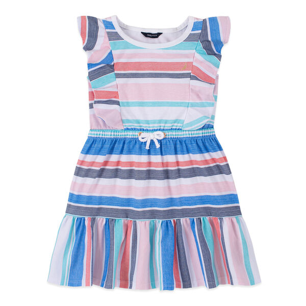 GIRLS' MULTICOLOR STRIPED FLUTTER SLEEVE DRESS (8-20) - Antique White Wash
