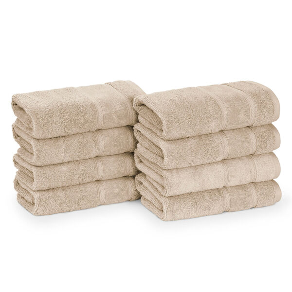 Belle Haven Hand Towel Set, 8-Piece - Khaki