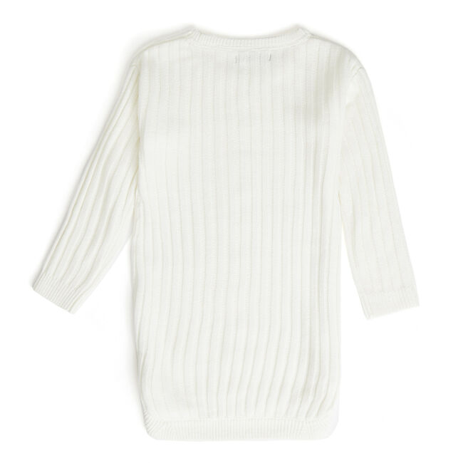 Little Girls' Long Sleeve Cable-Knit Sweater Dress (4-6X),Bright White,large