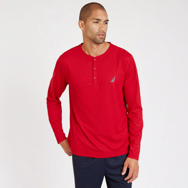 Sueded Jersey Long Sleeve Performance Henley,Nautica Red,large