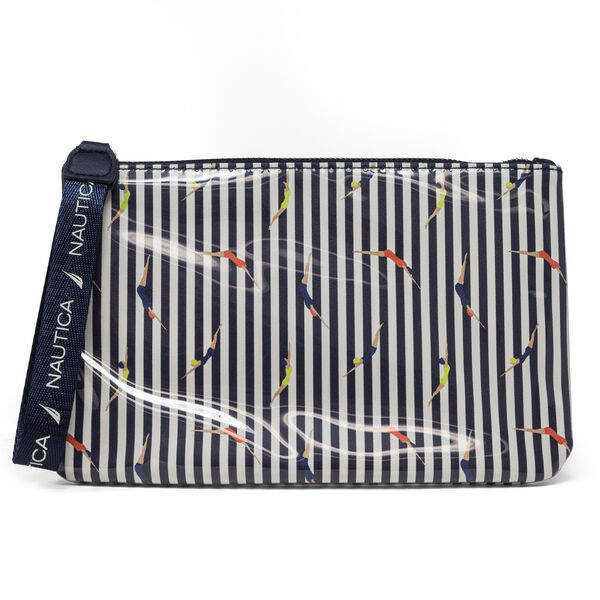 COATED CANDY STRIPE WRISTLET - Ice Blue