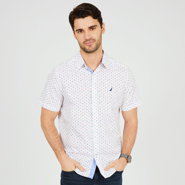 Signal Flag Classic Fit Button-Down Shirt,Bright White,large