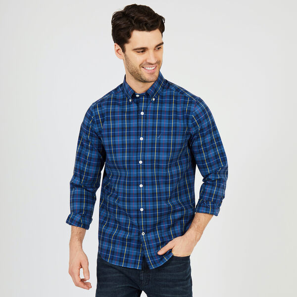Big & Tall Long Sleeve Classic Fit Wrinkle-Resistant Plaid Shirt - Lakeside Blue Wash