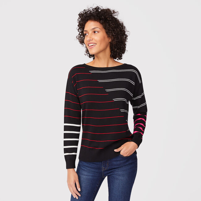 SUSTAINABLY CRAFTED MIXED-STRIPE BOATNECK SWEATER,True Black,large