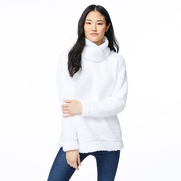 SHERPA MOCK NECK SWEATER - Bright White