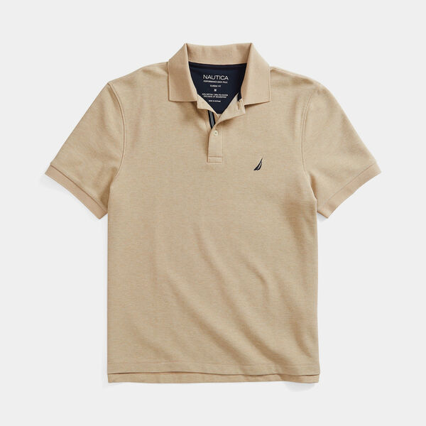 CLASSIC FIT DECK KNIT POLO - Camel Heather