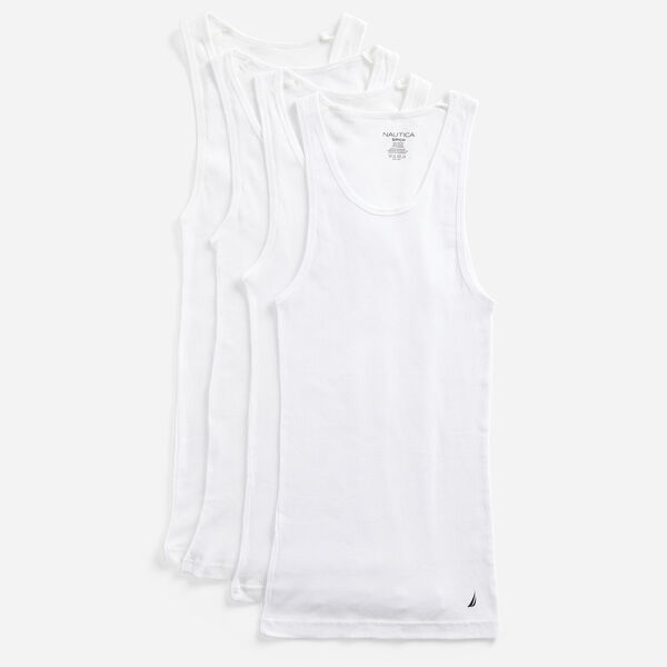 RIBBED TANK TOP- 4-PACK - Antique White Wash