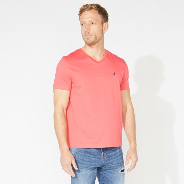SOLID V-NECK T-SHIRT - Persian Red