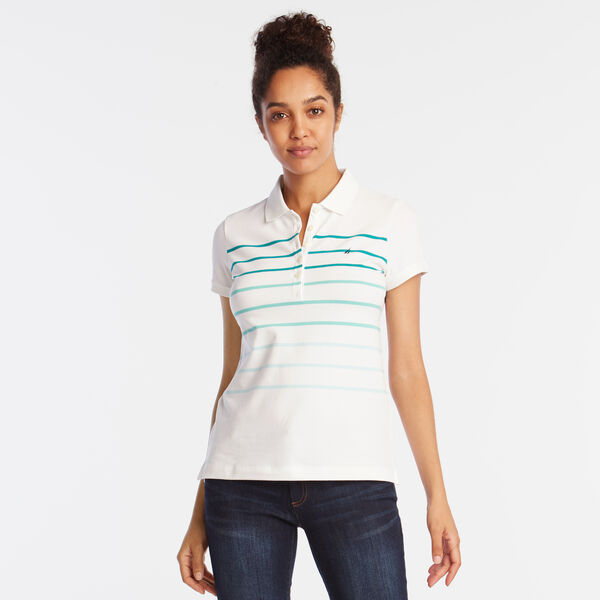 OMBRE STRIPE CLASSIC POLO SHIRT - Bright White