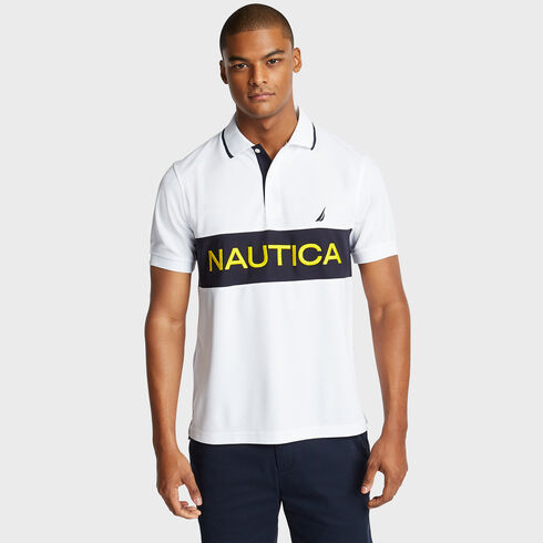 Colorblock Performance Polo - Bright White