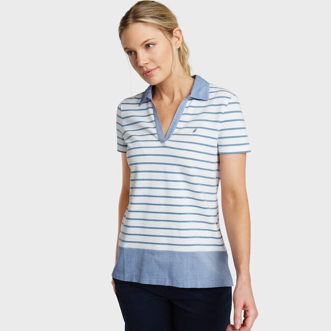 Classic Fit Mixed Media Polo,Aquadream,large