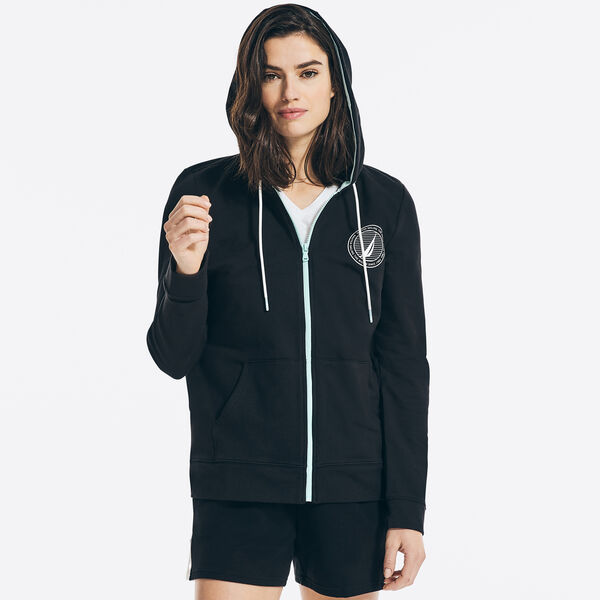 SUSTAINABLY CRAFTED GRAPHIC FULL-ZIP HOODIE - True Black
