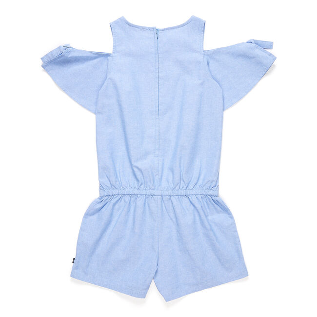 Girls' Chambray Tie-Sleeve Romper (7-16),Bright Cobalt,large