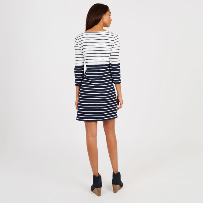 Striped Boatneck Dress,Marshmallow,large