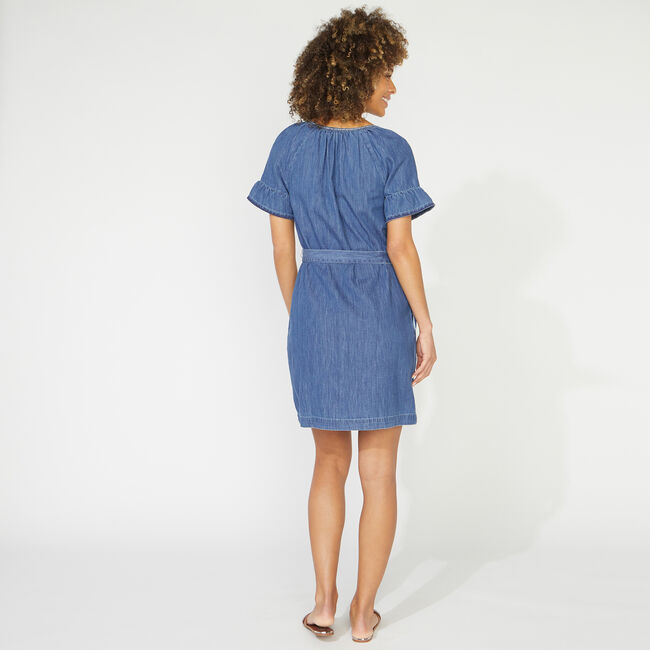 NAUTICA JEANS CO. EMBROIDERED DENIM DRESS,Star Turquoise,large