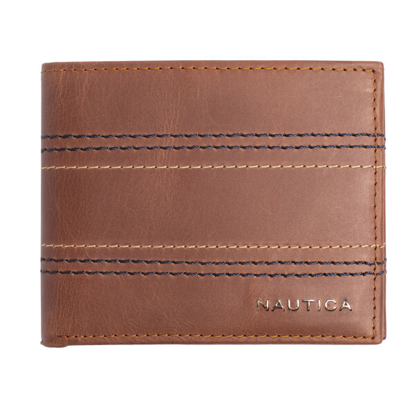 EMBROIDERED LEATHER SLIMFOLD WALLET - Military Tan