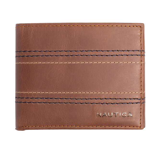 EMBROIDERED LEATHER SLIMFOLD WALLET,Military Tan,large