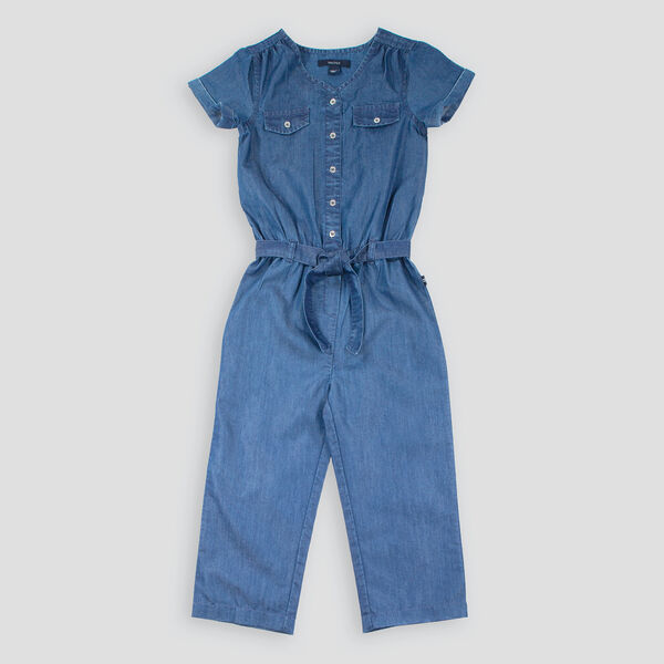 LITTLE GIRLS' WOVEN CHAMBRAY JUMPSUIT (4-7) - Clear Sky Blue