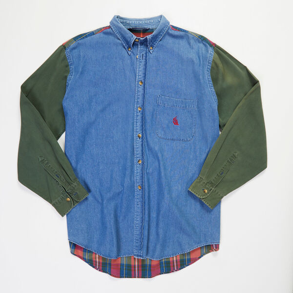 Vintage Nautica Long Sleeve Denim & Plaid Shirt - undefined