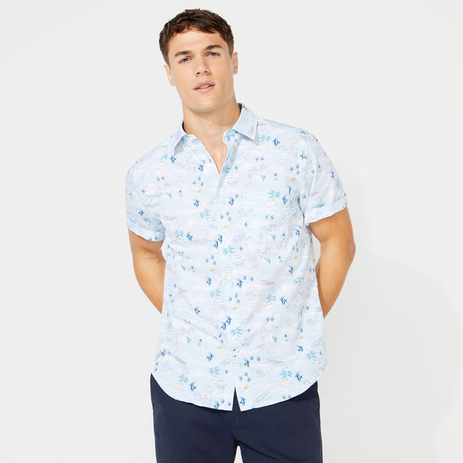 CLASSIC FIT SOUTH BEACH PRINTED SHIRT,Crystal Bay Blue,large