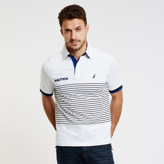 Classic Fit Jersey Polo in Chest Stripe,Bright White,large