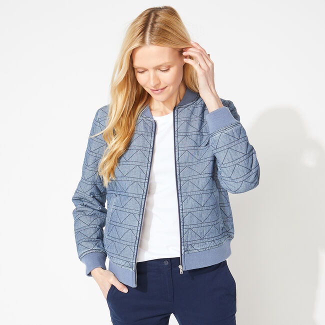 QUILTED CHAMBRAY BOMBER JACKET,Star Turquoise,large