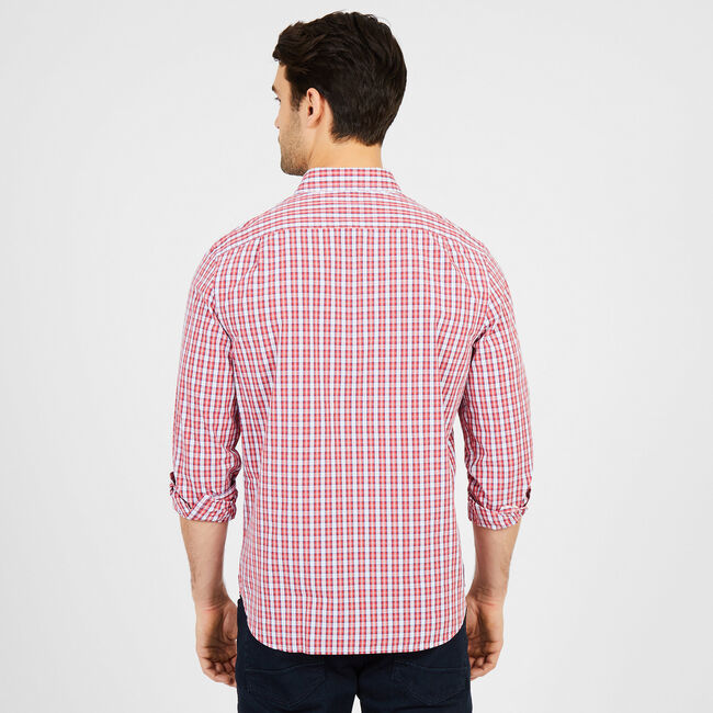 Classic Fit Everyday Plaid Long Sleeve Button Down ,Sailor Red,large