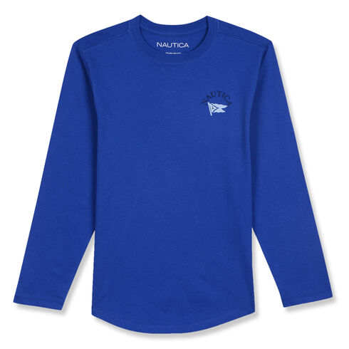Little Boys' Brian Long Sleeve Crewneck Tee (4-7) - Imperial Blue