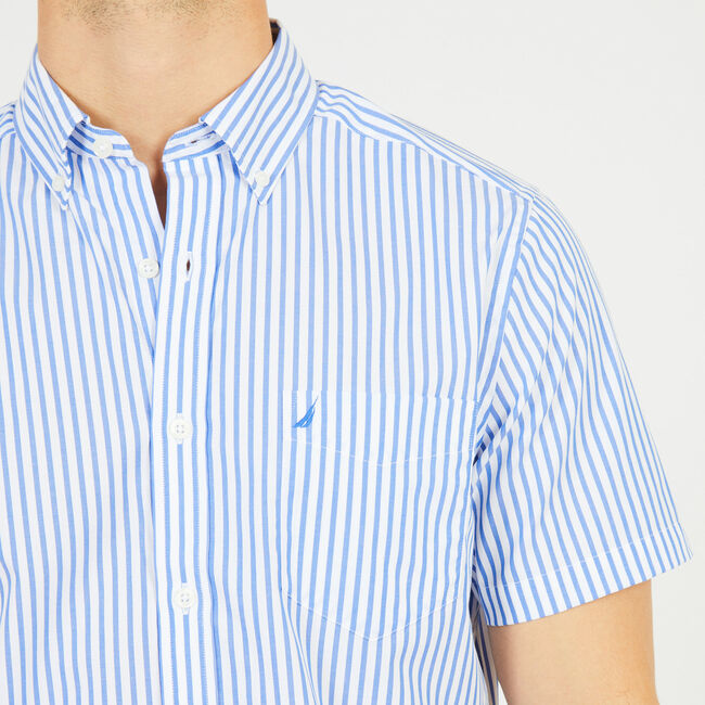 Striped Classic Fit Short Sleeve Shirt,French Blue,large