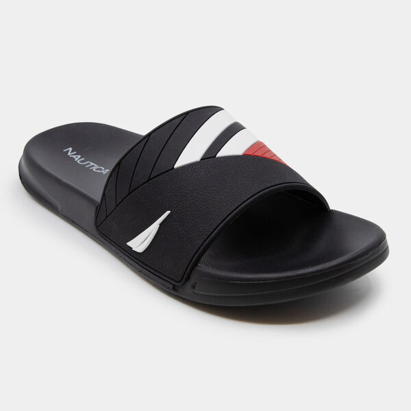 COLORBLOCK LOGO EMBOSSED STRIPE SLIDE SANDALS - True Black