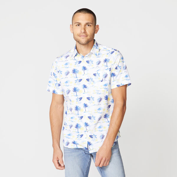 CLASSIC FIT ISLAND PRINT POPLIN SHIRT - Bright White