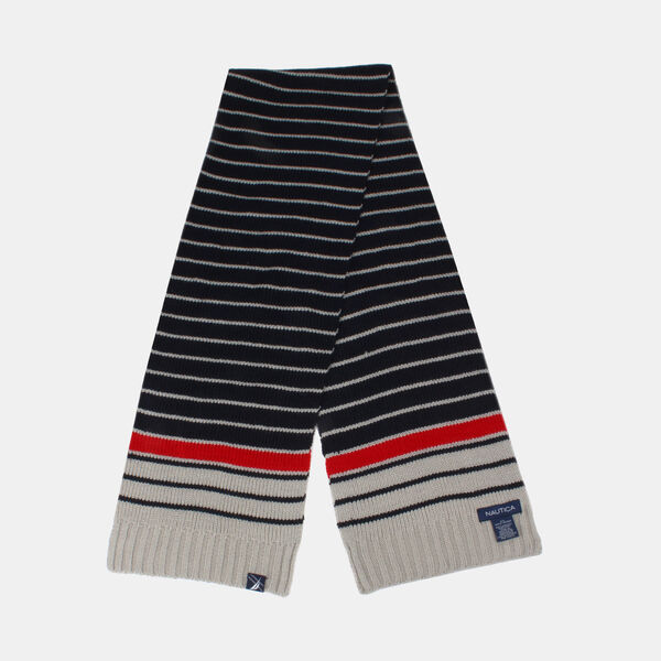 KIDS' STRIPED KNIT SCARF - Navy