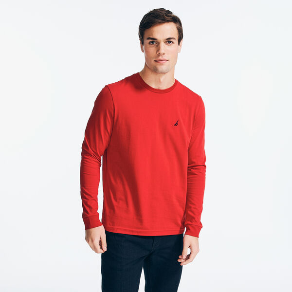 CREWNECK LONG SLEEVE T-SHIRT - Nautica Red